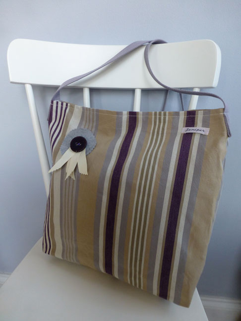 Large Purple Stripe Shoulder Bag with contrasting lining and inner pocket, magnetic clasp fastening £26.00