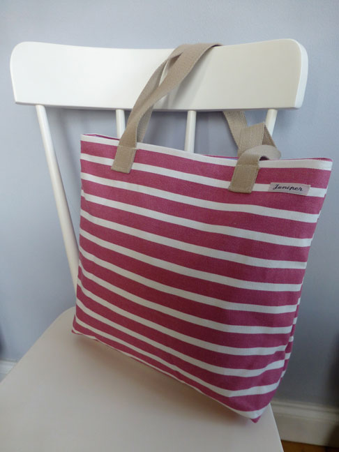 Large Pink Stripe Bag with contrasting lining and inner pocket, magnetic clasp fastening £26.00