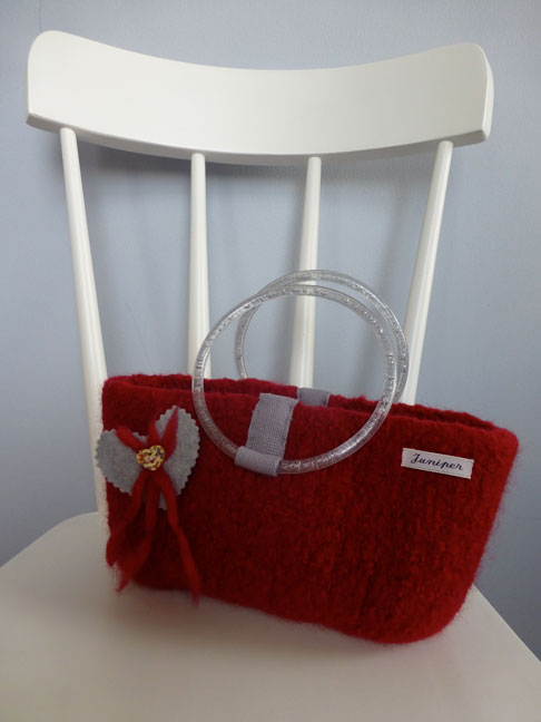 Hand Knitted and Felted 100% Pure Wool Handbag £35.00