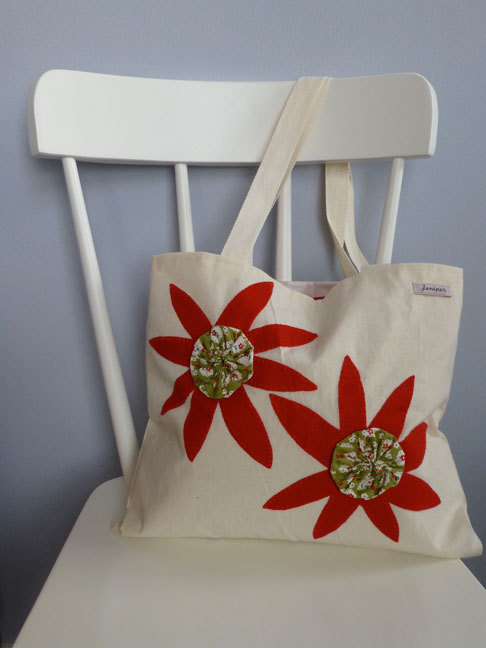 Red Felt and Fabric flower detail Shopper Tote Bag £14.00